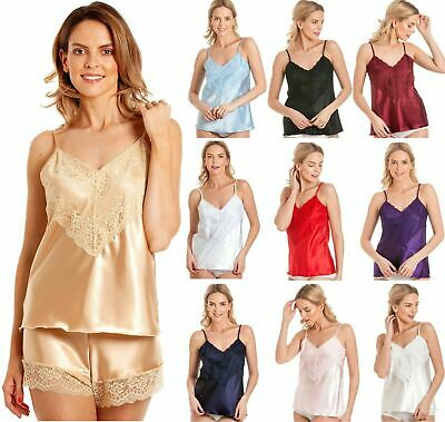 NEW LUXURY Satin Lace Camisole Top RED BLACK IVORY WHITE 9 Colours UK Made