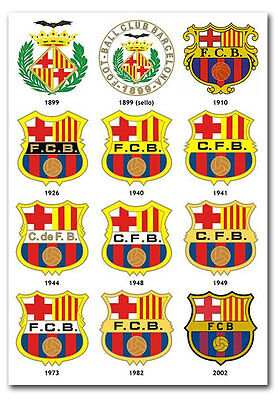 """The FC Barcelona Logos Throughout The Years Fridge Magnet 2.5""""x 3.5"""""""