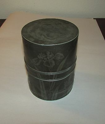 Antique Japanese metal tea canister caddy dragons butterfly signed Meiji 19th