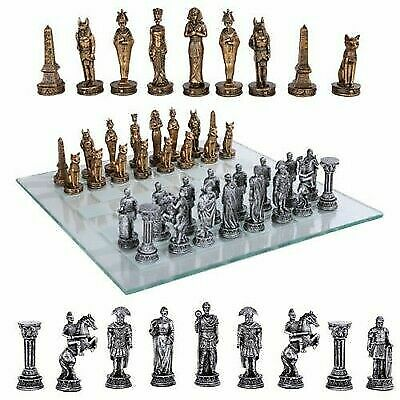 Kingdoms at War Egyptian VS Roman Chess Pieces With Glass Board Set Collectible