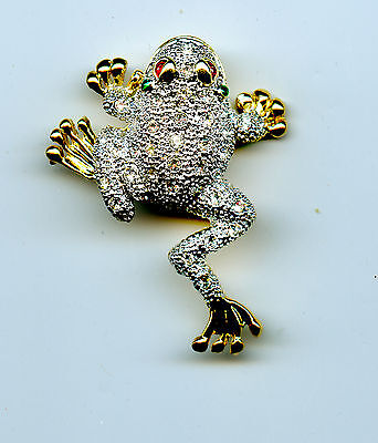"""FROG PIN Gold Tone w/ Crystals 1.75""""x1.25"""" 82515C"""