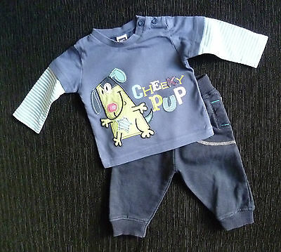 Baby clothes BOY 3-6m blue top/soft fleece lined trousers 2nd item post-free!