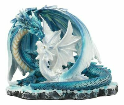 Blue Dragon with White Baby Hatchling Family Fantasy Figurine Statue Collectible