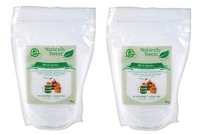 Naturally Sweet Xylitol Birch 2kg (2 x 1kg) - 100% Natural Sweetener