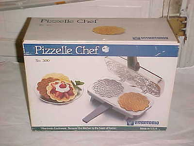 Vintage Pizzelle Chef 300 Electric Pizzelle Baker w/ Box & Recipe/Manual New NIB