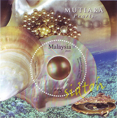 [St] Malaysia 2015 Round South China Pearls Glitter Foil Embossing Ms Offer
