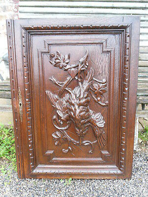 "French antiquity hunting door panel ""woodcock"" oak nineteenth em"
