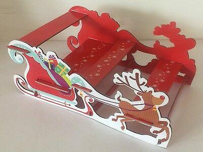 3 Tier CHRISTMAS CUPCAKE STAND Card Reindeer Sleigh Disposable Party Decoration