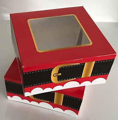 4 Festive CHRISTMAS Food Cake Treat Sweets Gift Boxes with Clear Window