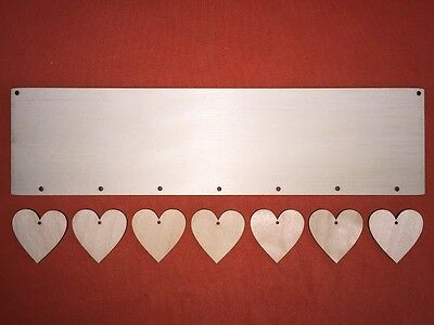 LONG PLAQUE with 7 hearts (each 4 cm) PLAIN UNPAINTED BLANK WOODEN HANGING CRAFT