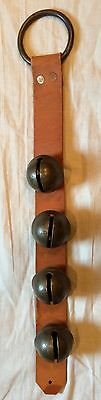 STRAND OF SLEIGHBELLS FOR A DOOR SET OF 4 NO 8 BRASS SLEIGH BELLS MOUNTED