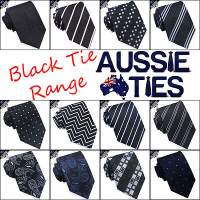 MENS BLACK TIE striped lines stripes white blue red paisley check CHOOSE DESIGN