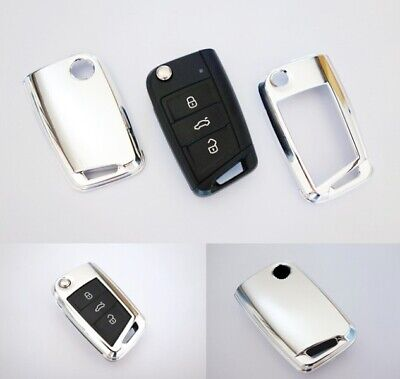 VW Golf 7 VII MK7 Key Cover Case Skin Shell Cap Fob Protection Bag Chrome