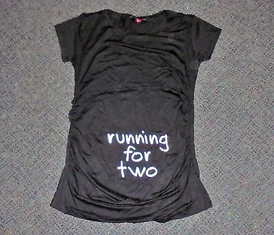 "- New - "" Running For Two ""  Maternity T - Shirt Size L  (12)"