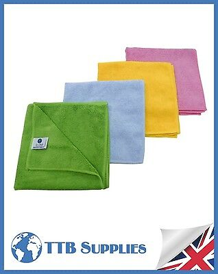 GREEN Microfibre Cloths Quality Split-Fibre(Pack x10)Cleaning Glass Car Polish