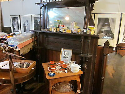 Ornate Wood Victorian Fireplace Mantle Mantel Columns Beveled Mirror Inverness