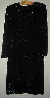 Nite Line Sequined Beaded Black Dress Social Formal Wedding Sz 10, Gorgeous!