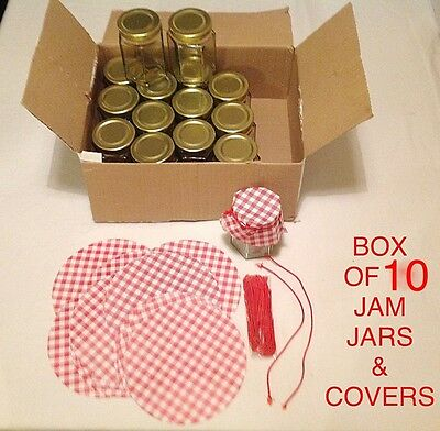 10 X HEXAGONAL 8oz JAM CHUTNEY PRESERVE STORAGE GLASS JARS GINGHAM FABRIC COVER