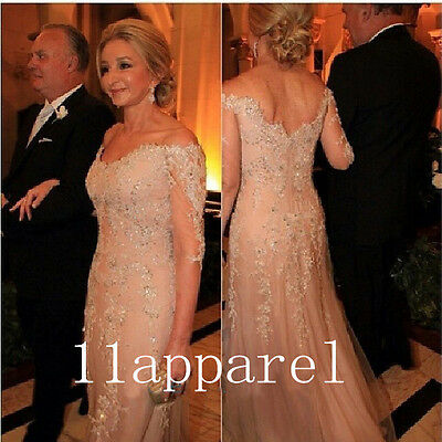 Custom made Long Evening Dress Beaded 3/4 Sleeves Mother of The Bride Dresses