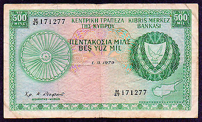 "Cyprus ""Former British Colony"" (1979) 500-Mils {SINGLE} F/F+ Note: P42c(09/79)"