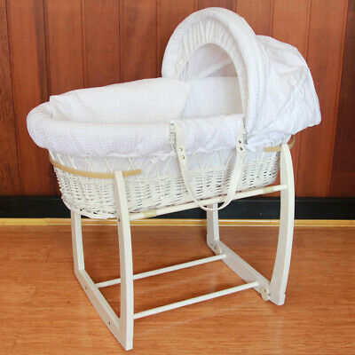 Baby Moses Bassinet White Wooden Side to Side Rocking Stand White Waffle Bedding