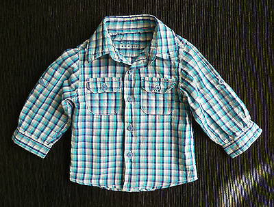 Baby clothes BOY 6-9m cotton long sleeve Early Days shirt sleeve taps check blue