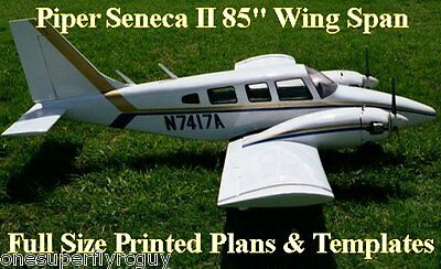 """Piper Senaca 85"""" WS 1/6 Scale RC Airplane Full Size PRINTED Plans & Templates"""