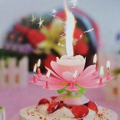 Rotating Perfect Musical Lotus Flower Happy Birthday Candle Party Birthday Gift_