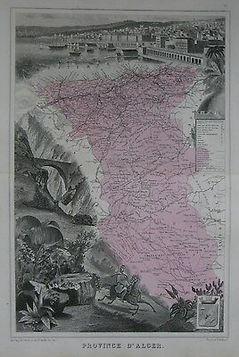 Original 1882 Illustrated French Map PROVINCE OF ALGER Algeria Médéa Cherchell