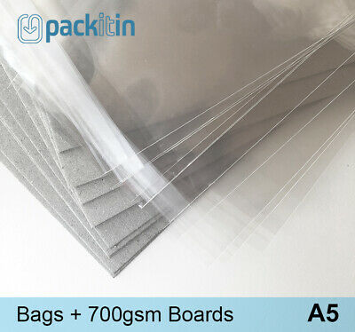A5 (50 pack) Clear Cello Reseal Bags Sleeves + Matching Backing Boards (700gsm)