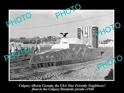 OLD HISTORIC PHOTO OF CALGARY CANADA, THE USA CALGARY STAMPEDE FLOAT c1940