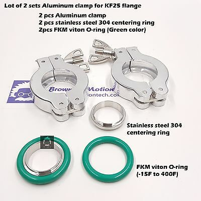 2 sets KF25 Aluminum vacuum clamp ring + SS304 center ring with FKM viton O-ring