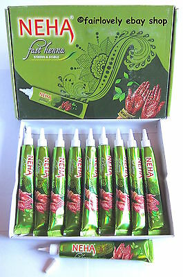 Box of 10 NEHA DARK BROWN Henna Mehendi Paste Cones Tubes Temporary Tattoo Kit