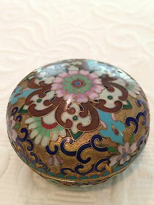 Antique Chinese Cloissone Enamel Brass Bowl With Lid