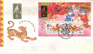 Christmas Island 1998 Year of Tiger mini sheet on official first day cover