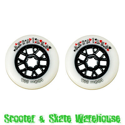 SCOOTER WHEELS 100mm WHITE/BLACK WITH BEARINGS - FREE DELIVERY
