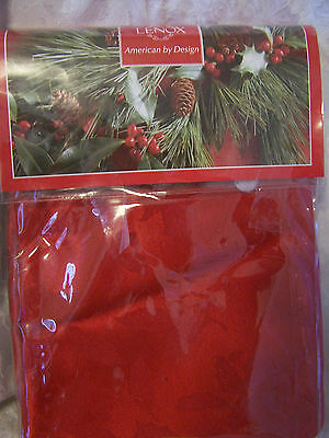 LENOX 60 x 104 RED TABLECLOTH HOLLY DAMASK DESIGN