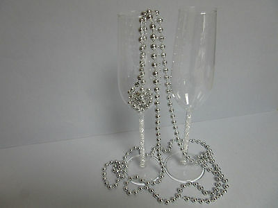 Crystal Beads Stem Wedding Toasting Glasses Champagne Flute Water Bridal Table N
