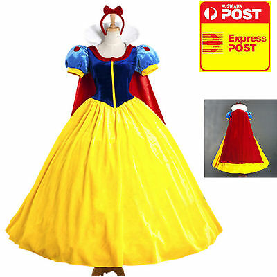 Cosplay Adult Snow White Deluxe Long Gown + Headpiece S M L XL ***AU Seller **