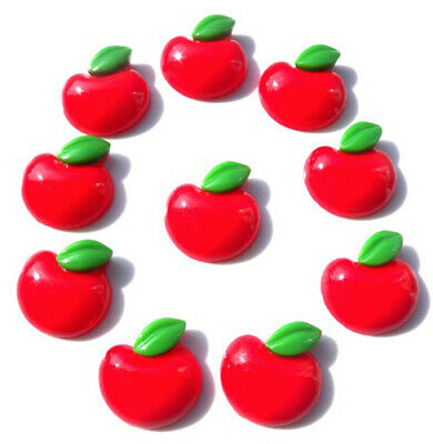 10 Large Red Apples Flatback Kitch Cabochons Resin Decoden - Fast Shipping