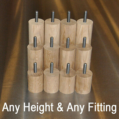 Cylinder Solid Oak ∅40mm Furniture Feet - M8, M10 & Plate Fittings - Any Height