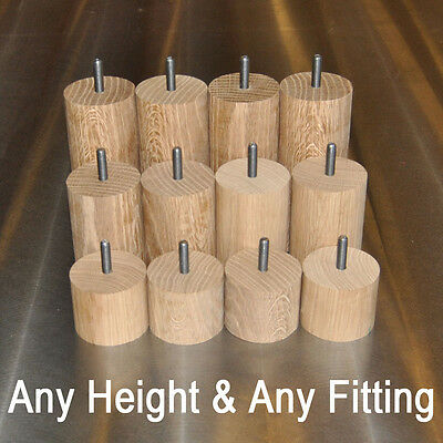 Cylinder Solid Oak ∅60mm Furniture Feet - M8, M10 & Plate Fittings - Any Height