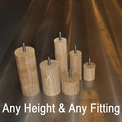 Cylinder Solid Oak ∅40mm or ∅60mm Furniture Feet/ Foot - Any Height Any Fitting