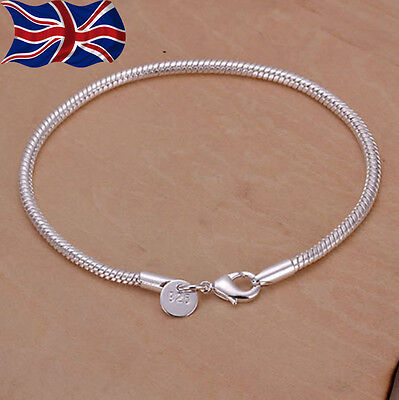 """925 Sterling Silver Snake Bracelet Chain Rope 3mm Ladies Charms Gift 8"""" UK"""