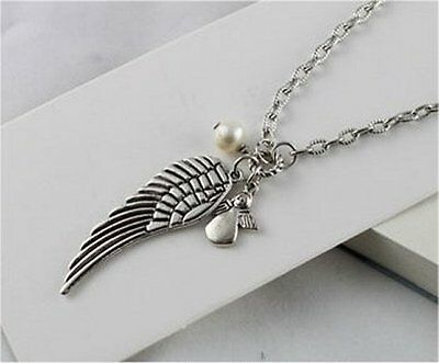 Large Angel Wing Charm Necklace