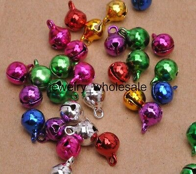 50pcs Mixed color Copper Bell Small Bells Dangle Charms With Loop 6mm 8mm 10mm