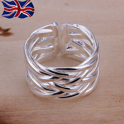925 Sterling Silver Adjustable Ring Band Weave Thumb Finger Rings Gift UK