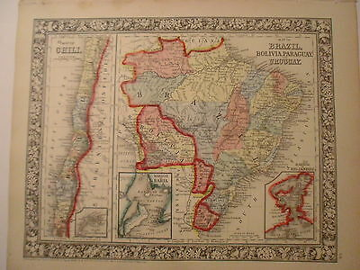 Map of Brazil, Bolivia, Paraguay and Uruguay, 1864, Mitchell
