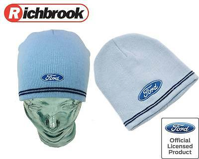 Brand New Richbrook Official Licensed Ford Logo Light Blue Unisex Beanie Hat