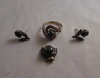 10k gold and sterling smoky topaz and ruby set ring pendant Art Deco